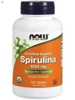 Now Foods Organic SPIRULINA 1000mg - 120 tablets GREEN SUPERFOOD
