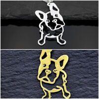 Hunde Halskette mit Französischer Bulldogge Anhänger - Bully - Frenchie silber