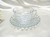 Blue Bubble Depression Glass Cup and Saucer Set