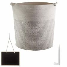 New Woven Cotton Rope Storage Baskets XL toys/laundry/organize Cream and Gray
