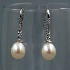 White Pearl Freshwater CZ Sterling Silver Hook Drop Dangle Wire Earrings 08138