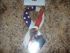 "American Flag With American Eagle Car Magnet Ribbon 8"" Long New in Package"