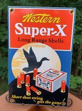 VINTAGE WESTERN SUPER X SHELLS PORCELAIN ENAMEL SIGN WINCHESTER REMINGTON