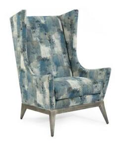 """31"""" W Wing Back Chair Patchwork Paint Pattern Fabric Brushed Silver Metal Legs"""