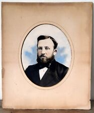 Large Antique Victorian Painting Portrait Gentleman Over Painted Photo