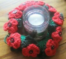 HAND KNITTED POPPY FIELDS RING OR CANDLE WREATH. TABLE DECOR OR HANG.