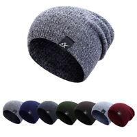 Men Women Winter Baggy Knit Long Slouchy Beanie Hat Fleece Lined Skull Ski Cap P