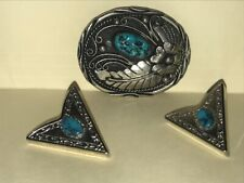 Vintage TURQUOISE 2 Silver Collar Tips and Belt Buckle - Western Style