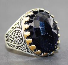 sterling silver 925 and bronze men ring.move the stars natural stone