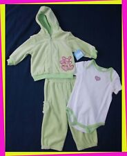 � Girl's 6-9M Green Velour Bunny Body Suit Jacket Pants Set Outfit Lot New Nwt