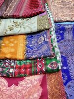 Vintage Indian Saree Cotton Sari India Ethnic Fabric Antique Textile Handloom Dress Wrap Sarong Material Used Recycled Brown Green PCS2092