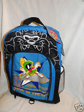 """NWT LOONEY TUNES MARVIN THE MARTIAN BLUE BACKPACK 11""""X16"""" /WATER BOTTLE"""