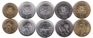 Somalia - set 5 coins 5 10 25 50 100 Shillings 2000 - 2002 UNC Lemberg-Zp