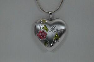 "Mom Heart Shaped Rose Locket Solid Sterling Silver 925 30"""