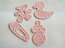 Fer sur / sew on-pink, baby diaper, Ducky, hochet, Teddy guipure motif de dentelle, applique