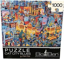 Cat City Blues 1000 Pc Jigsaw Puzzle Bill Bell NEW kitten town big whisker kitty