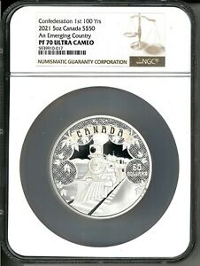 2021 Canada $50 100th Confederation Emerging Country 5 oz Silver Coin NGC PF 70