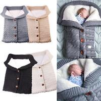 Neugeborene Baby Decke stricken häkeln Winter warme Swaddle Wrap Schlafsack DE