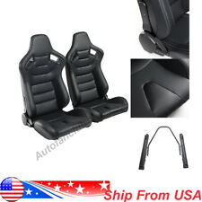 2pcs Car Universal Racing Seats Pu Leather Recline Adjustable Seats W/2 Sliders