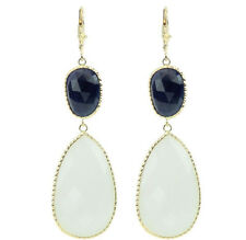 14K Yellow Gold Gemstone Earrings with White Onyx and Blue Sapphires