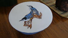 Shaker-Style Pantry Box (Hand-Painted Pair of Nuthatches)/Folk Art