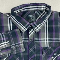 Ocean Current Button Up Shirt Mens M Gray Black Purple Long Sleeve Plaid Pockets