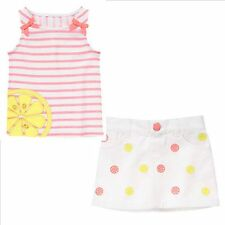 Gymboree Sunny Citrus Lemon Slice Stripe Tee Shirt & Denim Skirt Set 5T NEW NWT