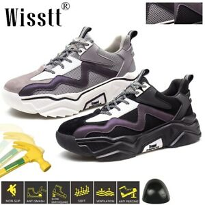 Mens Work Boots Steel Toe Safety Shoes Lightweight Breathable Durable Trainers