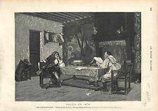 COLLABORATION - CORNEILLE ET MOLIÈRE JEAN-LÉON GÉRÔME GRAVURE ANTIQUE PRINT 1874