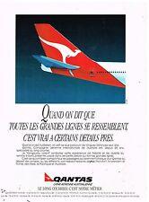 Publicité Advertising 1989 Compagnie aerienne Australienne Qantas