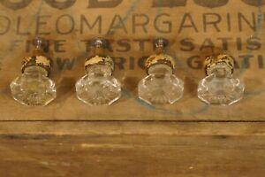 Vintage Antique Glass Drawer Pulls Set of 4 Original