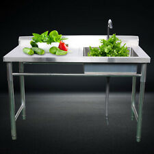 Commercial Sink Kitchen Wash Basin Stainless Steel 1 Compartment With Worktable