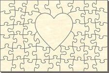 Blanko Holz-Puzzle Rechteck mit Herz, 48 Teile, 60x40 cm, zum Selbst Bemalen