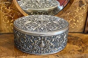 Antique Indonesian Yogya .800 Silver Oval Box / Tea Caddy 478 Grams Uncleaned