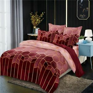Set Duvets Cover Pillowcase Geometry Gilt Printed Nordic King Queen Brief Quilts