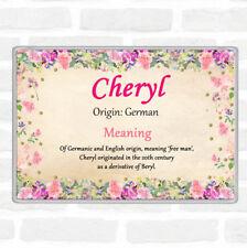 Cheryl Name Meaning Jumbo Fridge Magnet Floral