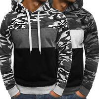 Mens Camouflage Hoodie Fleece Hooded Pullover Sweatshirt Jumper Slim Coat Jacket