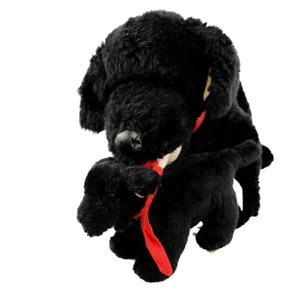 Build a Bear Black Lab Dog & Puppy Plush Stuffed Animal BAB Mom Carrying Baby