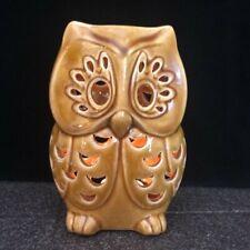 "Owl Tealight Holder 6.5"" Glazed Ceramic Golden Brown Tabletop Decor EUC"