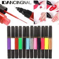 12 Colors Nail Art Tips Varnish Polish Liner Brush Painting Drawing Pen Set