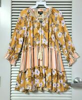 3/4 mustard mix floral cntr tiered peasant top w/ tie M