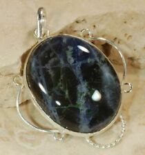 """STUNNING SODALITE .925 SILVER DESIGNER PENDANT – 1-1/4"""" X 1"""" WITH LEATHER CORD"""