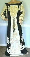 New NWT $9,500 Figue India Embroidered Silk Long Maxi Gown Dress US 6 8 / Medium