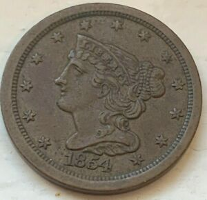 US 1854 Half Cent 1/2 Circulated Coin (#D80) VF+/XF