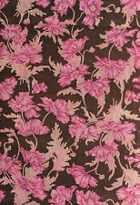 Antique 1910 Pink & Brown Floral Vines Fabric