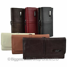 Ladies Large Leather Purse Wallet Clasp Coin Section in 6 Colours Multiple Slots