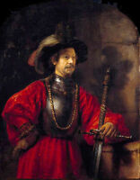 Rembrandt Oil painting Portrait of a Man in Military Dress with big sword canvas
