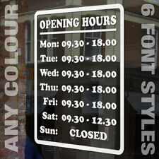 RETAIL SHOP, OFFICE OR RESTAURANT OPENING TIMES VINYL GRAPHIC - ANY COLOUR