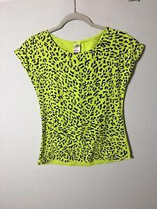 Zumba Womens Fluro Yellow Leopard Print Fitness Top T Shirt Size XS