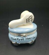 "Mud Pie Boys The Princes First Haircut Porcelain Trinket Box 2.5X2.5"""